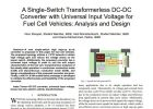 A Single-Switch Transformerless DC-DC Converter with Universal Input Voltage for Fuel Cell Vehicles: Analysis and Design